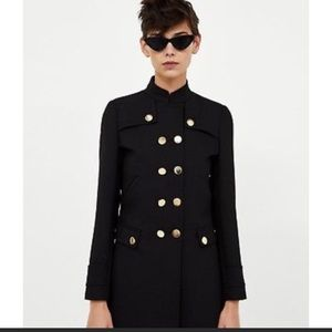 Zara Black Military Style Coat Ref 8455/608